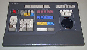 A Sony BVE-910 linear editing system's keyboard