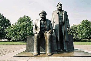Statue of Marx and Engels. A part of the Marx-...