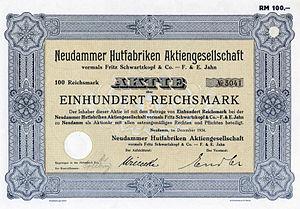 English: Stock certificate of Neudammer Hutfab...