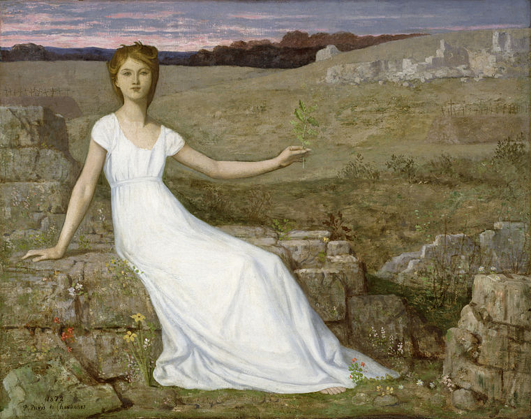 In this painting by Pierre Puvis de Chavannes a woman holds up an oak twig as a symbol of hope for the nation's recovery from war and deprivation after the Franco–Prussian War.