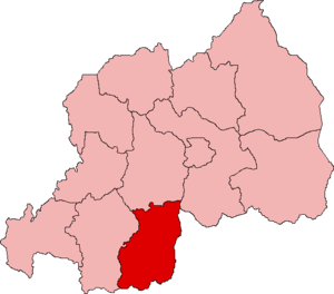 Map of Rwanda showing Butare Province; created...