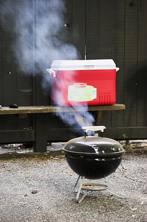 A Smokey Joe charcoal grill made by the Weber ...