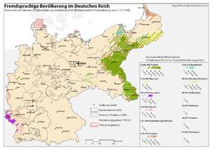 Deutsch: Karte der muttersprachlichen Minderhe...