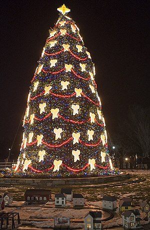 The 2007 U.S. National Christmas Tree is lit o...