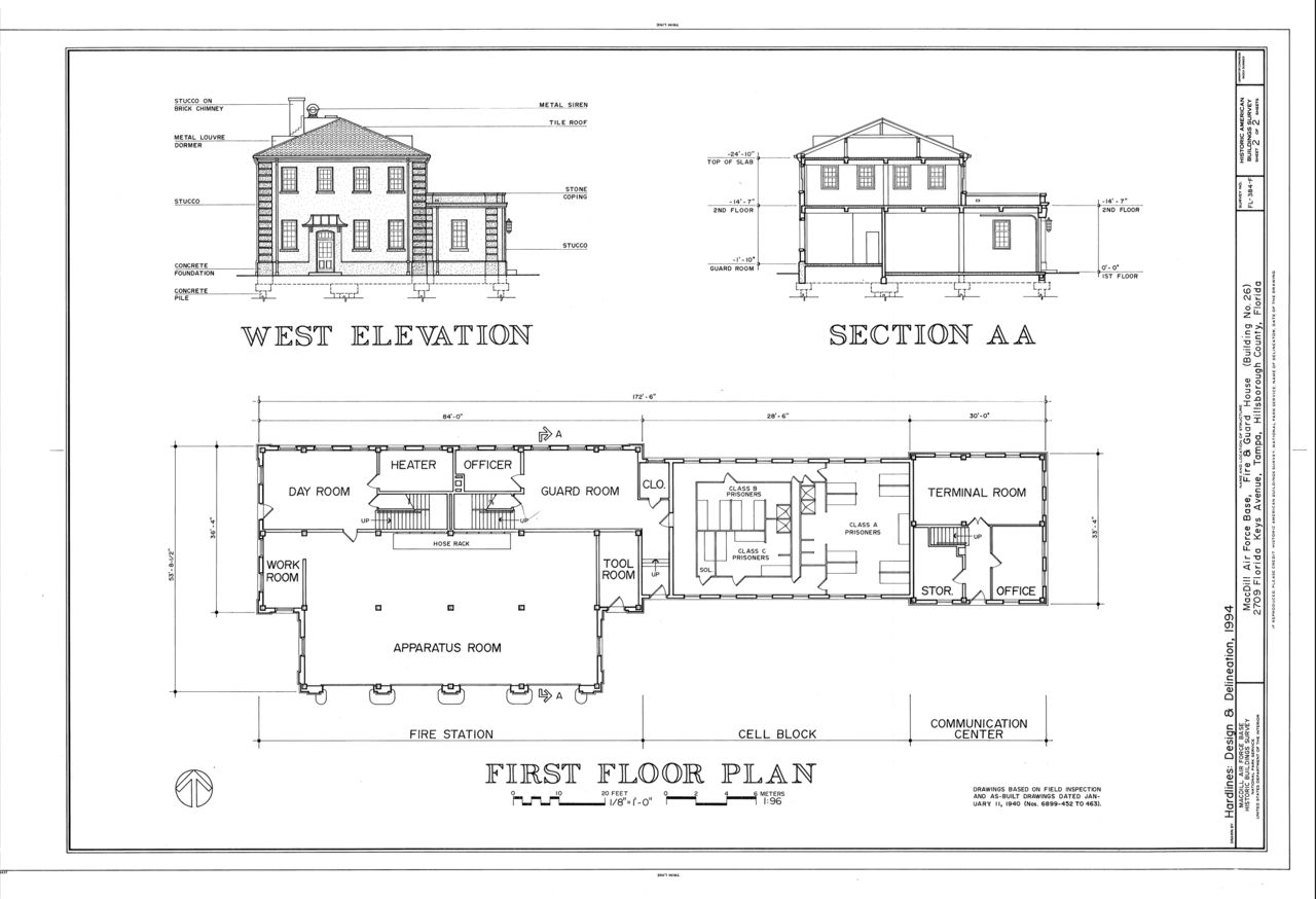 FileWest Elevation Section and First Floor Plan  MacDill Air Force Base Fire and Guard