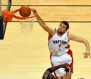 Andrea Bargnani dunk Toronto Raptors Miami Heat