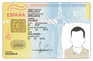 The front of a Spanish national identity card