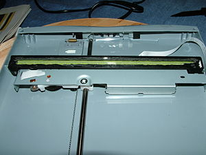 The CIS bar of a flatbed scanner