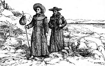 English: Franciscans of the California mission...