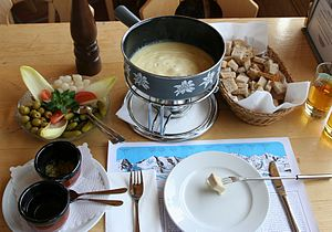 A full cheese fondue set in Switzerland. Apart...