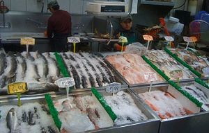 The fish stand in Lam's Seafood Market