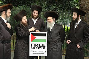 Members of the Neturei Karta orthodox group protest against Israel.