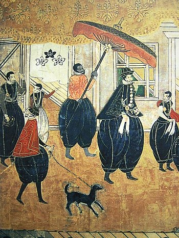 Japanese painting depicting a group of Portugu...