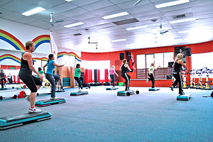 Step Aerobics Class at a Gym Category:Step aer...