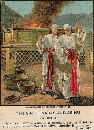 English: The Sin of Nadab and Abihu, illustrat...
