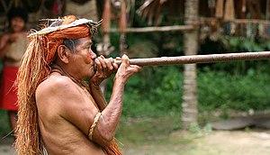 A Yagua (Yahua) tribeman demonstrating the use...