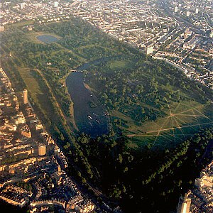 An aerial shot of Hyde Park, London