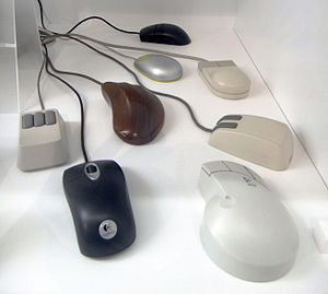 English: A variety of computer mice built from...