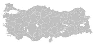 Blank map of Republic of Turkey's provinces. T...