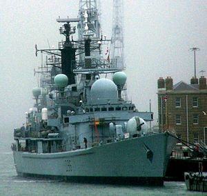 HMS Gloucester docked on Portsmouth harbour.