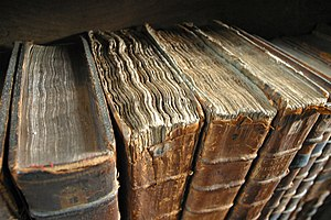 English: Old book bindings at the Merton Colle...