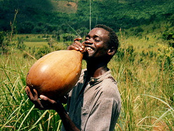 Drinking palm wine from a calabash. See Manga ...