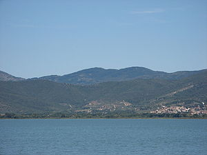 Lake Trasimene battlefield, from the lake. Han...