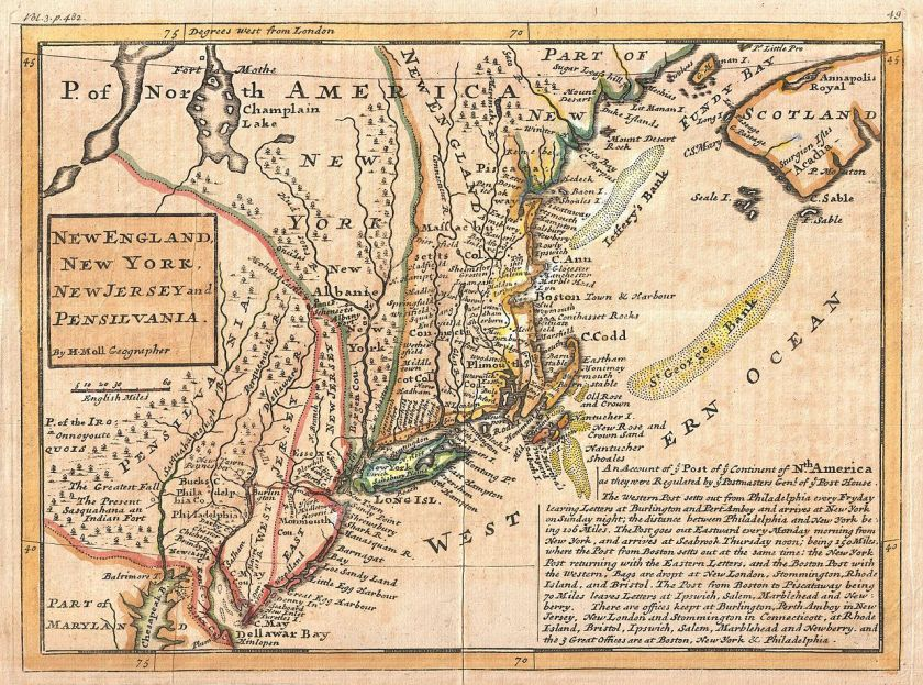 Herman Moll, New England, New York, New Jersey and Pensilvania, 1729. Wikimedia Commons.
