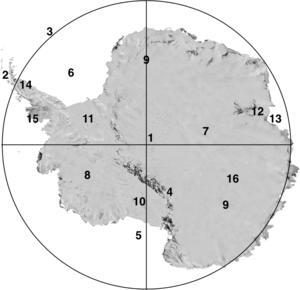 Major features in Antarctica: (1)South Pole, (...
