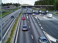 Toll road in Svinesund, at the Swedish side of...