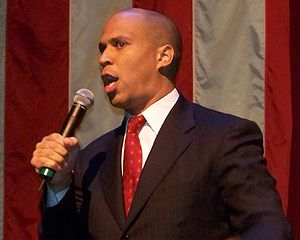 Cory Booker at a Barack Obama campaign rally i...
