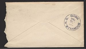Back of the above envelope, showing an additio...