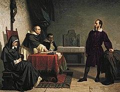Galileu sendo confrontado, oficialmente, pelos representantes da Santa Igreja.