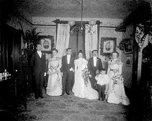 Group portrait of a wedding party, bride, groo...