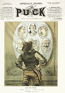 Capa da edição de 21 de setembro de 1888 da revista Puck, apresentando a versão do cartunista Tom Merry de Jack o Estripador.