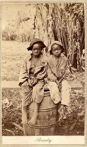 An undated photograph of children who were lik...