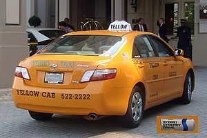 Rear view of a Yellow Cab Hybrid Taxi (Toyota ...