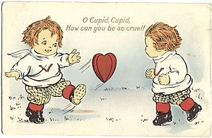 Scan of a Valentine greeting card depicting Cu...