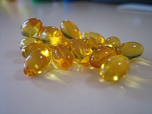 Photograph of Cod Liver Oil capsules.