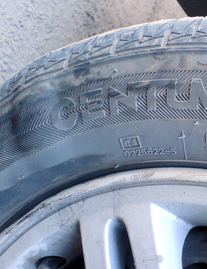 Damaged tire