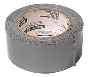English: A roll of silver, Scotch brand duct tape.