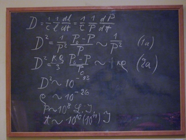 Photograph of Einstein's Blackboard. A blackboard used by Albert Einstein in a 1931 lecture in Oxford. The last three lines give numerical values for the density (ρ), radius (P), and age of the universe. The blackboard is on permanent display in the Museum of the History of Science, Oxford. Photo Credit : decltype.