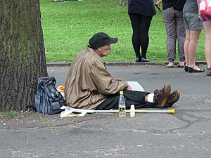 English: Homeless person in Tallinn, Estonia.
