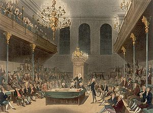 The House of Commons at Westminster: This engr...