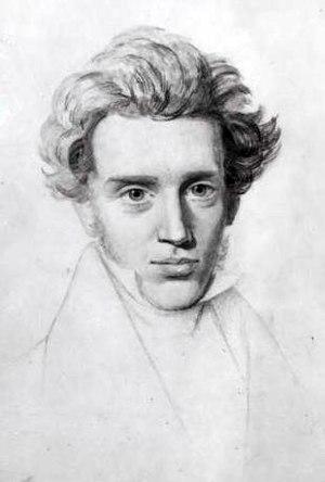 English: Sketch of Søren Kierkegaard. Based on...