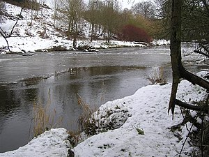 English: The cold icy Camowen River, Cranny Lo...