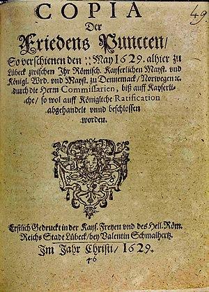 Titelblatt eines Druckes mit dem Lübecker Frieden