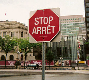"English: ""STOP/ARRÊT"": bilingual sto..."