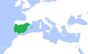 English: Locator map of the (Umayyad) Caliphat...