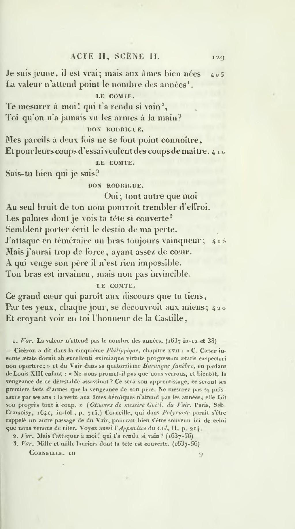 Le Cid Acte 2 Scene 2 : scene, Page:Corneille,, Pierre, Œuvres,, Marty-Laveaux,, 1862,, 3.djvu/141, Wikisource
